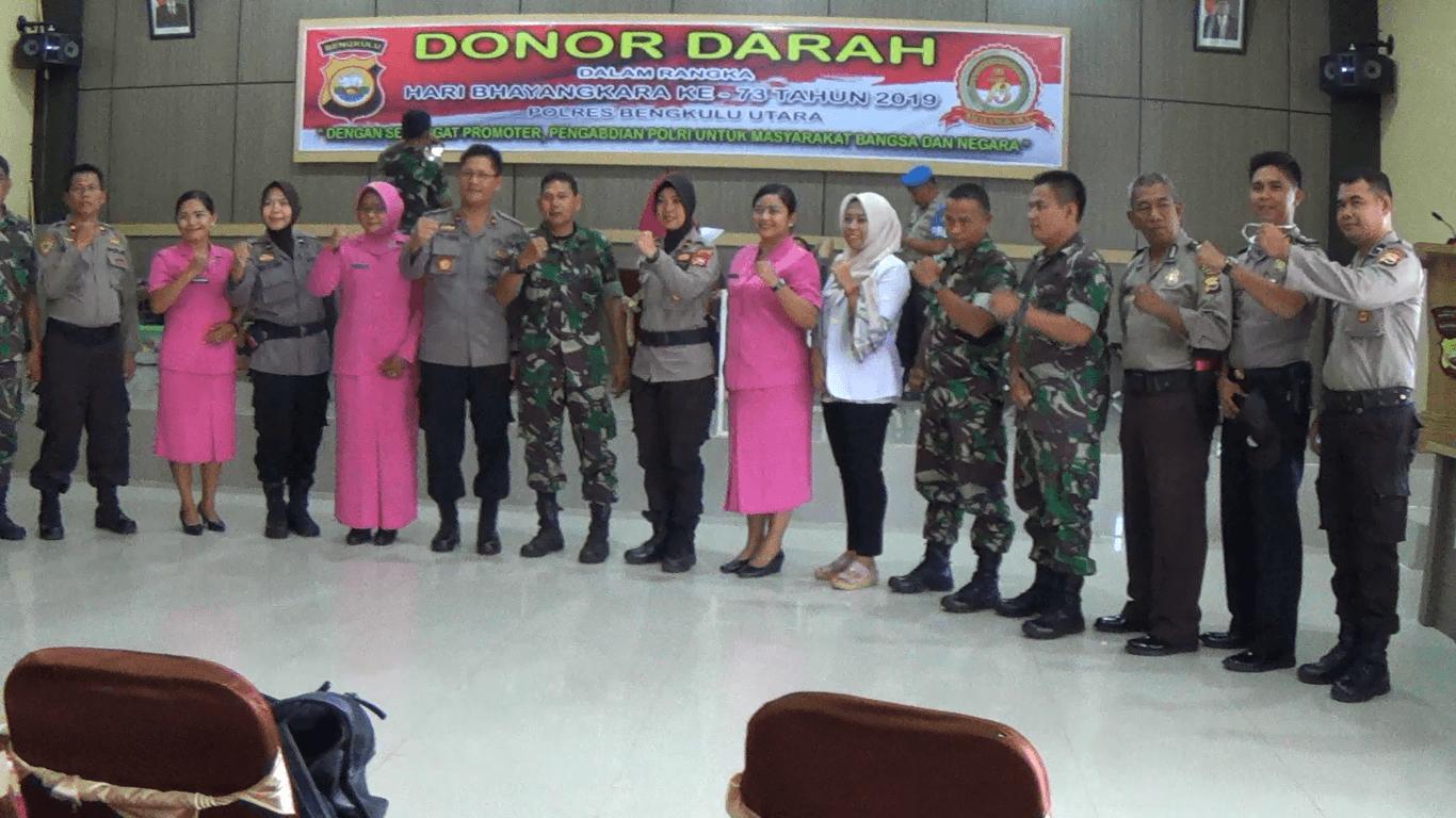 Hut Bhayangkara Ke 73,TNI Polri Bengkulu Utara lakukan Donor Darah